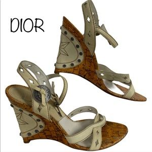 Dior Gaucho Wedges Leather Sandals Size 9